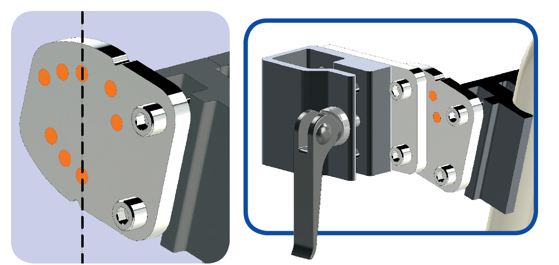Angle Adjust Plate and Solid Wheelchair Bracket - Wheelchair Mount