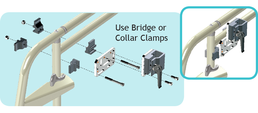 Use Bridge or Collar Clamps to Mount to Round Tubing