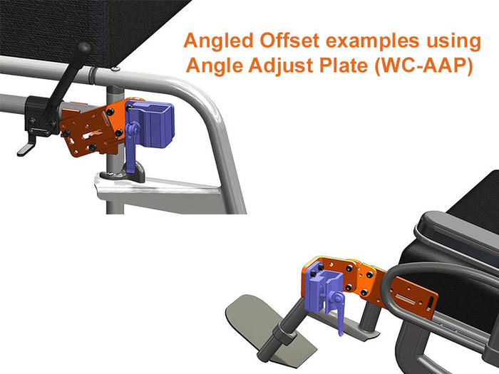 Angled Offset Wheelchair Mounting with Angle Adjust Plate