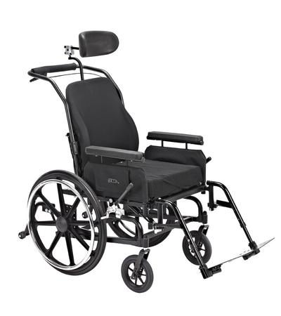 Approach 1: Bridge clamp, attaching to the vertical footrest tube and horizontal seat frame tube.  Approach 2: Attach a Round clamp to the vertical footrest tube and use  L-Angle extension plate to position the Solid Wheelchair bracket.