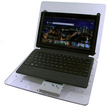 Tablet tray with hinged keyboard surface