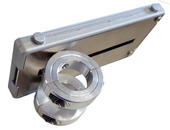 Tilt Plate attached to tube clamps allows attachment to round tubes, such as Daessy or Rehadapt
