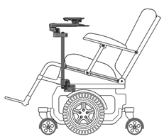 Wheelchair Mounted to Base or Sub-Frame for Tilt Chairs
