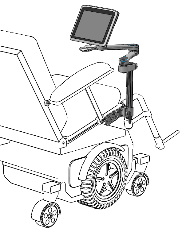Wheelchair Mounted to Seat for Tilt Chairs